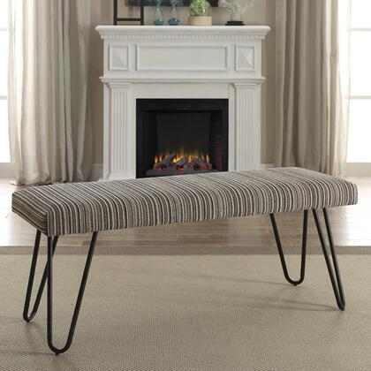 """Coaster Benches Collection 47"""" Bench with Hair Pin Legs, Southwestern Flair, Rectangular Shape, Black Metal Construction and Fabric Upholstery in"""