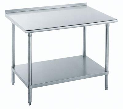 """Advance Tabco FLAG-24 24"""" Wide Work Table with Stainless Steel Top, Galvanized Understructure and 1 1/2"""" Backsplash"""