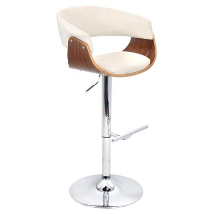 """LumiSource Vintage Mod BS-JY-VMO WL 37"""" - 43"""" Barstool with 360 Degree Swivel, Chrome Footrest and Fabric Upholstery in"""