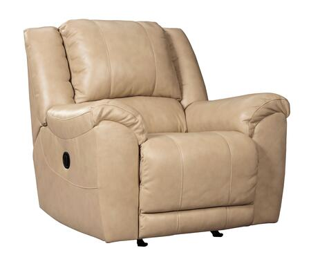 """Signature Design by Ashley Yancy 29202 34"""" Rocker Recliner with Pillow Top Arms, Top Grain Leather Seat, Vinyl and Leather Match Upholstery in Galaxy Color"""
