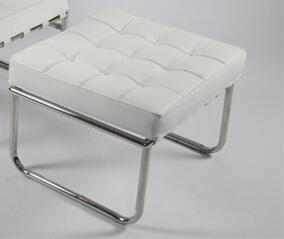 Fine Mod Imports FMI9257WHITE Celona Series Modern Leather Polished Stainless Steel Frame Ottoman