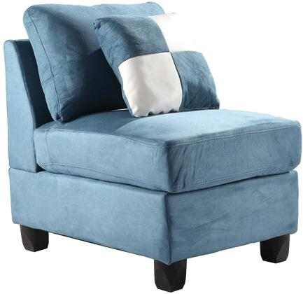 """Glory Furniture 23"""" Armless Chair with Removable Cushions, Tapered Legs, Removable Back and Suede Fabric Upholstery in"""