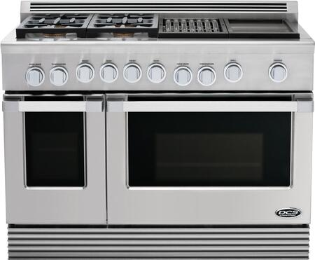 "DCS RDU484GGL 48"" Professional Series Stainless Steel Gas Freestanding Range with Sealed Burner Cooktop, 4.7 cu. ft. Primary Oven Capacity,"