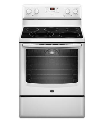 Maytag MER8775AW  White Electric Freestanding Range with Smoothtop Cooktop, 6.2 cu. ft. Primary Oven Capacity, Storage