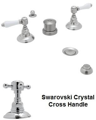 Rohl A1460XC Italian Country Bath Collection Widespread Bidet Faucet with Five Holes and Swarovski Crystal Cross Handles in