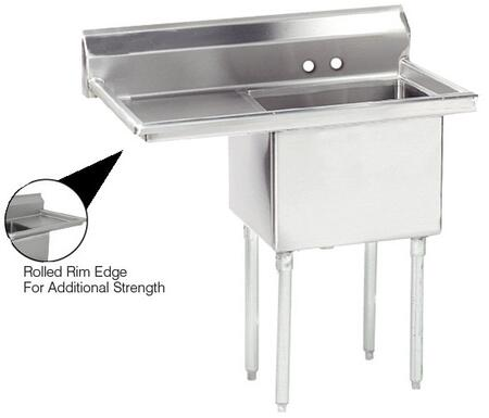 "Advance Tabco FE-1-1824 Lite Series One-Compartment Fabricated Sink with 18"" x 24"" Bowl and Backsplash in Stainless Steel"