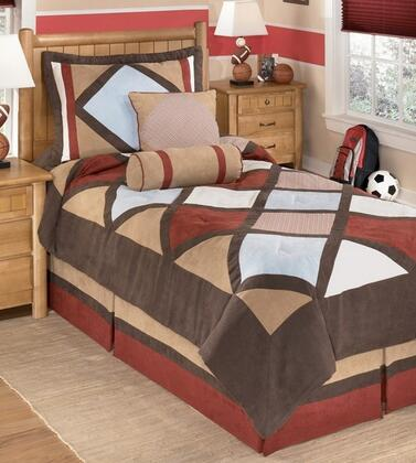Signature Design by Ashley Academy Q29200 PC Size Top of Bed Set Includes 1 Oversized Comforter, 1 Bed Skirt, Pillow Shams and 2 Decorative Accent Pillows with Harlequin Pattern and Polyester Material in Multi Color