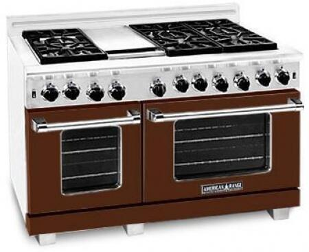 American Range ARR484GDGRLHB Heritage Classic Series Liquid Propane Freestanding Range with Sealed Burner Cooktop, 4.8 cu. ft. Primary Oven Capacity, in Brown