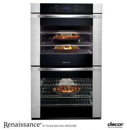"Dacor RNOV230B 30""  Double Wall Oven , in Black Glass with Vertical Stainless Steel Trim"