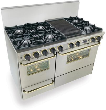 """FiveStar TTN5257BSW 48""""  Stainless Steel with Brass Dual Fuel Freestanding Range with Open Burner Cooktop, 3.69 cu. ft. Primary Oven Capacity, Broiler"""