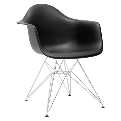 EdgeMod EM111CRMBLK Padget Series Modern Metal Frame Dining Room Chair