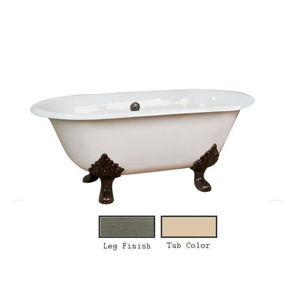 "Barclay CTDRN61LP Dawson 61"" Cast Iron Double Roll Tub with Elegant Lion Paw Feet and White Enamel Interior, in"