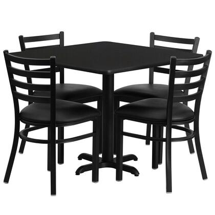 """Flash Furniture HDBFX01GG 36"""" Square Laminate Table Set with 4 Black Ladder Back Banquet/Restaurant Chairs with Black Vinyl Seat and Heavy Duty Construction"""