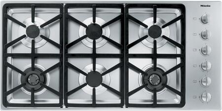 """Miele KM3484 42"""" Cooktop with 6 Sealed Burners, Wok Burner, Ignition Safety Control, Fast Ignition System, Stainless Steel Knobs and 73,800 BTU Total Output: Stainless Steel"""