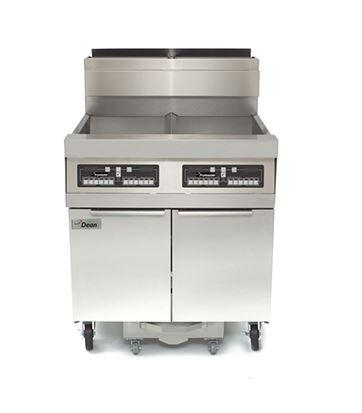 """Dean SCFD460G 80"""" Decathlon Commercial Gas Fryer Battery with Built-in Filtration, 75Lb Oil Capacity, 150,000 BTU, Thermatron Controller and Wide Cold Zone in Stainless Steel"""