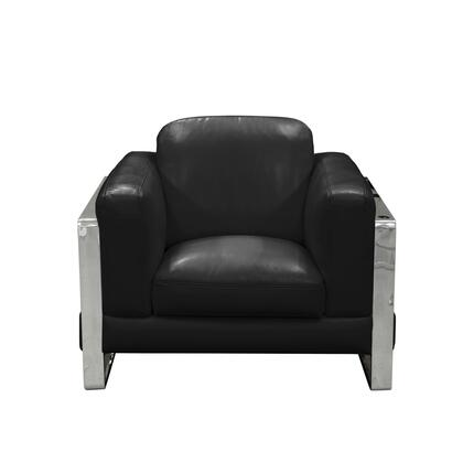 """Diamond Sofa Annika ANNIKACH 41"""" Chair with Air Leather, Polished Stainless Steel Arm and Plush Back Pillows in"""