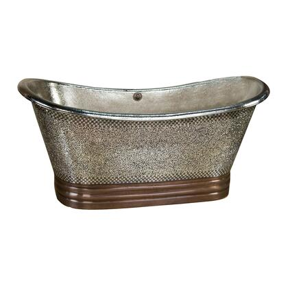 "71"" Copper Double Slipper Tub w/ Mosaic & Nickel Interior"