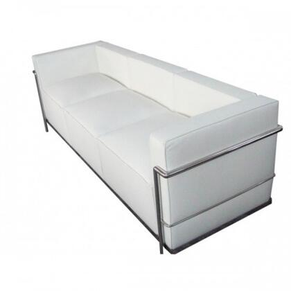 Fine Mod Imports FMI2204WHITE Grand Series Stationary Leather Sofa