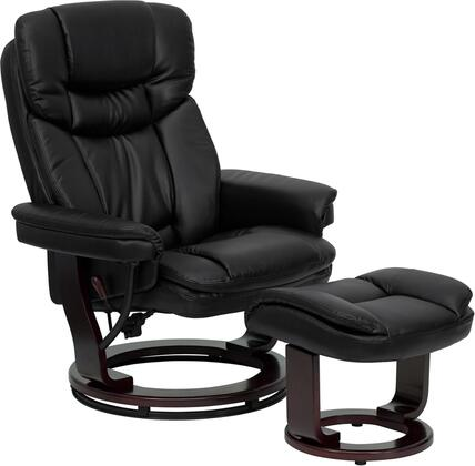 Flash Furniture BT-7821-XX-GG Contemporary Leather Recliner and Ottoman with Ball-Bearing Swiveling Mahogany Wood Base and Floor Glides