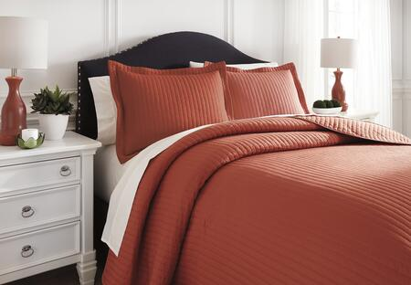 Milo Italia Janean Collection C1880TMP 3 PC Size Coverlet Set includes 1 Coverlet and 2 Shams with Solid Pattern and Polyester Material in Orange Color