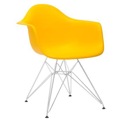 EdgeMod EM111CRMYEL Padget Series Modern Metal Frame Dining Room Chair
