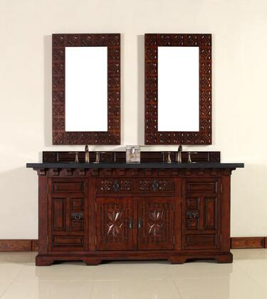 """James Martin Monterey 170V72 72"""" Double Vanity with 2 Shelves, 4 Doors, 1 Drawer, 2 Sinks Included, Granite Stone Top, Antique Iron Hardware, Oak and Birch Construction in Antique Brandy Color"""