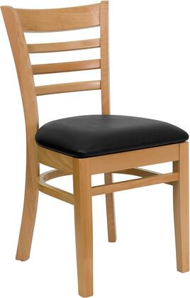 "Flash Furniture HERCULES Series XU-DGW0005LAD-NAT-XXV-GG 19.5"" Heavy Duty Natural Wood Finished Ladder Back Wooden Restaurant Chair with Vinyl Seat, Commercial Design, and Hardwood Contruction"