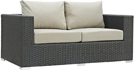 """Modway Sojourn EEI1851CHC 63"""" Outdoor Patio Sunbrella Loveseat with Fabric Cushions, Polished 201 Stainless Steel Legs and Powder Coated Aluminum Tube Frame in"""