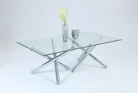 Chintaly LEATRICEDTGL LEATRICE DINING Rectangle Clear Table with Jax-Style Chrome Base