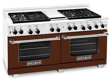 "American Range ARR6062GRHB 60"" Heritage Classic Series Brown Gas Freestanding Range with Sealed Burner Cooktop, 4.8 cu. ft. Primary Oven Capacity,"