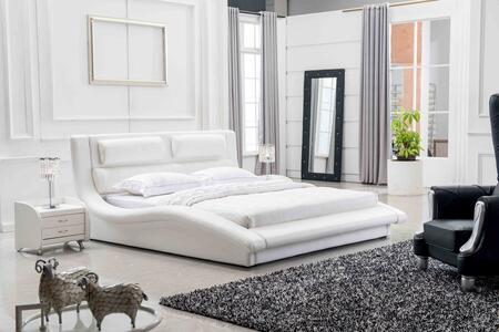 VIG Furniture VGRYBL9035-W Modrest Platform Bed with Wavy Design and Leatherette Upholstery in White