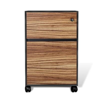 "Unique Furniture 400 Collection 17"" File Cabinet with 2 Drawers, Mobile Pedestal, Legal/Letter Size Filing, Commercial Grade and High Pressure Melamine Material in"