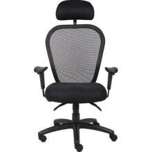 "Boss B600 40"" Mesh Chair with 3 Paddle Mesh, 3 Paddle Multi-Function Tilting Mechanism, Adjustable Height Armrests, Seat Tilt Lock, Back Angle Lock, and Padded Back Frame in Black"