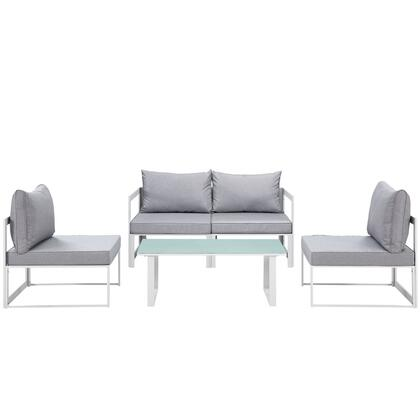 Modway Fortuna Collection EEI-1724- 5-Piece Patio Sectional Sofa Set with 2 Corner Sofa, 2 Armless Chairs and Coffee Table in