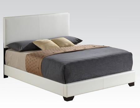 Acme Furniture 143W Ireland Platform Bed with PU Leather Upholstery, Hardwood Solids and Veneers in White