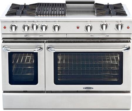 "Capital Culinarian Series CGSR482BG2-X 48"" Freestanding X Range with 4 Open Burners, Primary 4.6 Cu. Ft. Oven Capacity, and Secondary 2.1 Cu. Ft. Oven Capacity, in Stainless Steel"