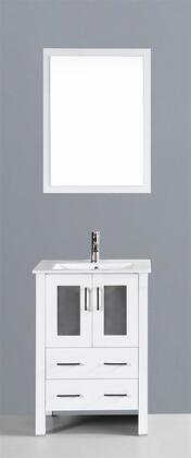 "Bosconi AW124UXX XX"" Single Vanity with Ceramic Counter Top, Undermount Ceramic Basin Sink, Matching Mirror, X Soft Closing Drawers, Cabinet, and Silver Hardware Finish in White Finish"