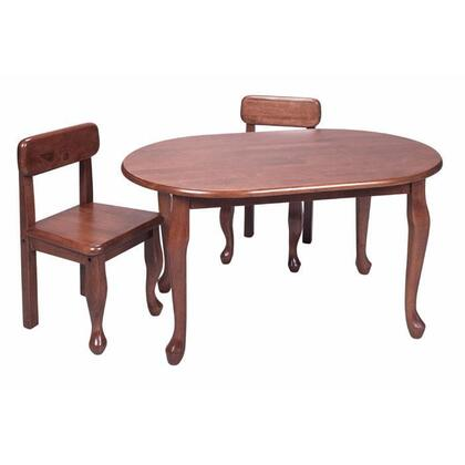 Gift Mark 3002X Natural Hardwood Classic Queen Anne Design Oval Table and Two Chair Set in