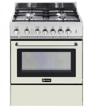"""Verona VEFSGG304N 30"""" Freestanding Gas Range with 4 Sealed Burners, 3.0 cu. ft. Capacity, Convection Oven, Storage Space, & Electronic Ignition, in"""