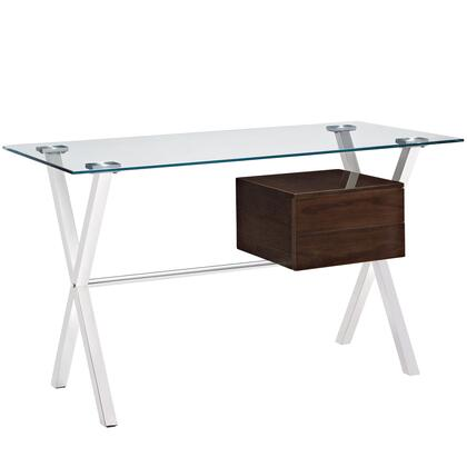 "Modway Stasis Collection 47"" Office Desk with 2 Drawers, Tempered Glass Top, Stainless Steel Frame and High Gloss Medium-Density Fiberboard (MDF) in"