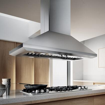 Elica ELI1 Aspire Series Leone Island Chimney Hood with 1200 CFM Internal Blower, Dishwasher-Safe Professional Stainless Steel Baffle Filters, 4 Halogen Lights, Rotating Knobs, and 4 Fan Speeds: Stainless Steel