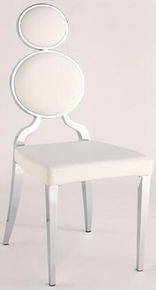 Chintaly OPRAHSCWHT Oprah Series Modern Vinyl Metal Frame Dining Room Chair