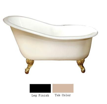 """Barclay CTS7HR61 61"""" Hadrian Cast Iron Slipper Tub with Overflow and 7"""" Right Side Rim Holes in"""