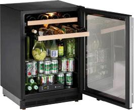 U-Line 1175BEVSS00  Freestanding Compact Refrigerator with 6 cu. ft. Capacity, 2 ShelvesField Reversible Doors