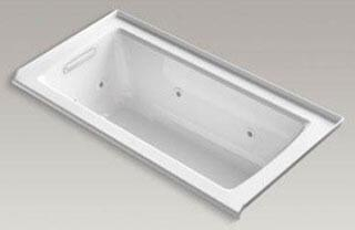 """Kohler K-1947-L Archer 60"""" x 30"""" Alcove Whirlpool with Integral Flange and Left-Hand Drain in"""