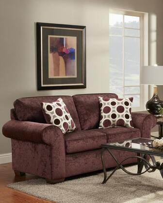 Chelsea Home Furniture 195302PE Worcester Series Polyester Stationary with Wood Frame Loveseat