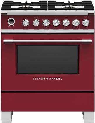 "Fisher Paykel OR30SCG6R1 30"" Classic Series Red Dual Fuel Freestanding Range with Sealed Burner Cooktop, 3.6 cu. ft. Primary Oven Capacity, Warming"