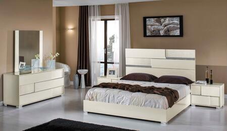 VIG Furniture VGACANCONA-SET-BGE Modrest Ancona Italian Bedroom Set includes Bed, 2 Nightstands, Dresser, Mirror and Polished Metal Legs in   Beige Color