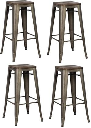 EdgeMod EM126ELMBRZX4 Trattoria Series Commercial Not Upholstered Bar Stool