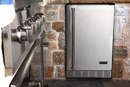 """Coyote C1BIR24 24"""" Outdoor Compact Refrigerator with 5.5 cu. ft. Capacity, Coyote Professional Style Handle, Graphite Interior, LED Lighting and Digital Thermostat, in Stainless Steel"""